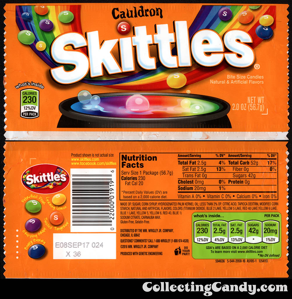 Wrigley - Cauldron Skittles - 2oz Halloween candy package wrapper - October 2016