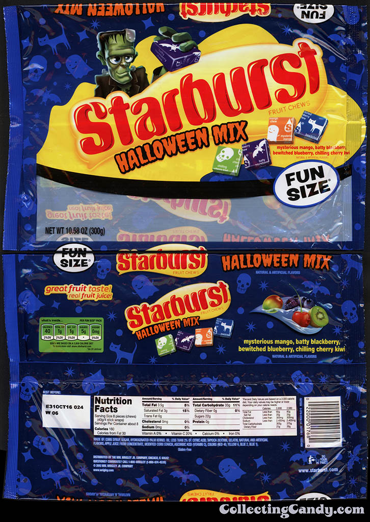 Wrigley - Starburst - Halloween Mix - 10.58 oz Halloween Fun Size candy package wrapper - October 2015