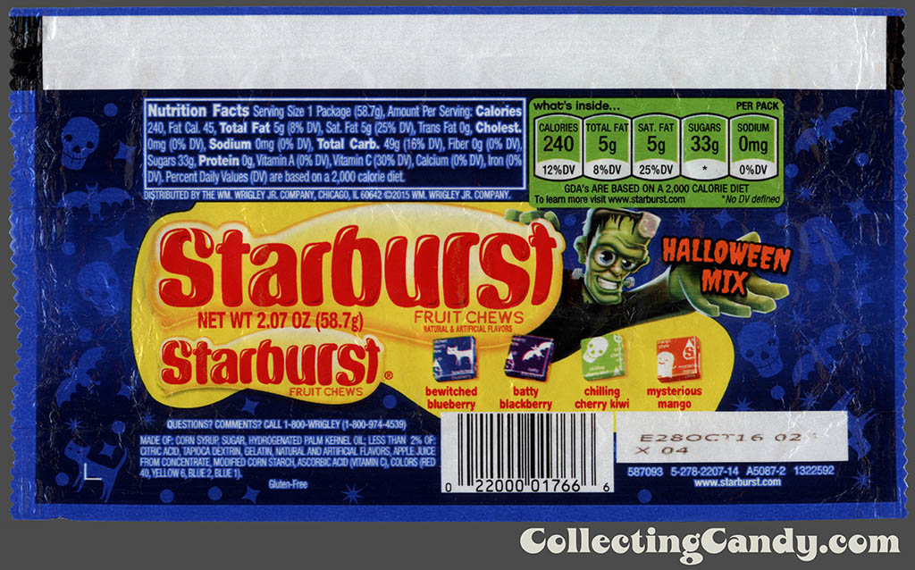 Wrigley - Starburst - Halloween Mix - 2_07 oz Halloween candy package wrapper - October 2015