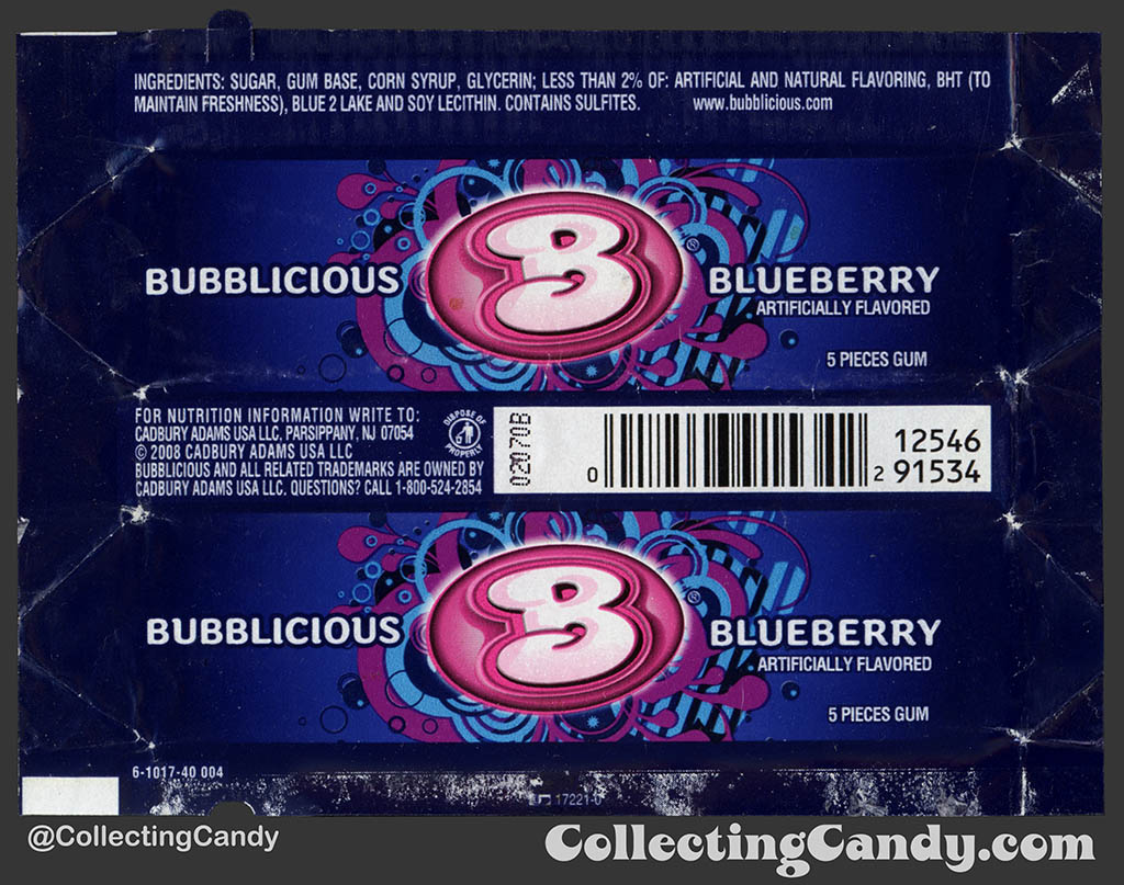Cadbury-Adams - Bubblicious Blueberry - 5-piece pack bubblegum wrapper - 2012