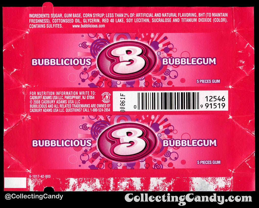 Cadbury-Adams - Bubblicious Bubblegum - 5-piece pack bubblegum wrapper - 2012