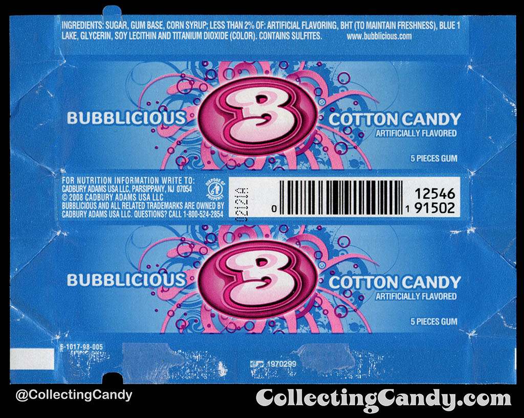 Cadbury-Adams - Bubblicious Cotton Candy - 5-piece pack bubblegum wrapper - 2012