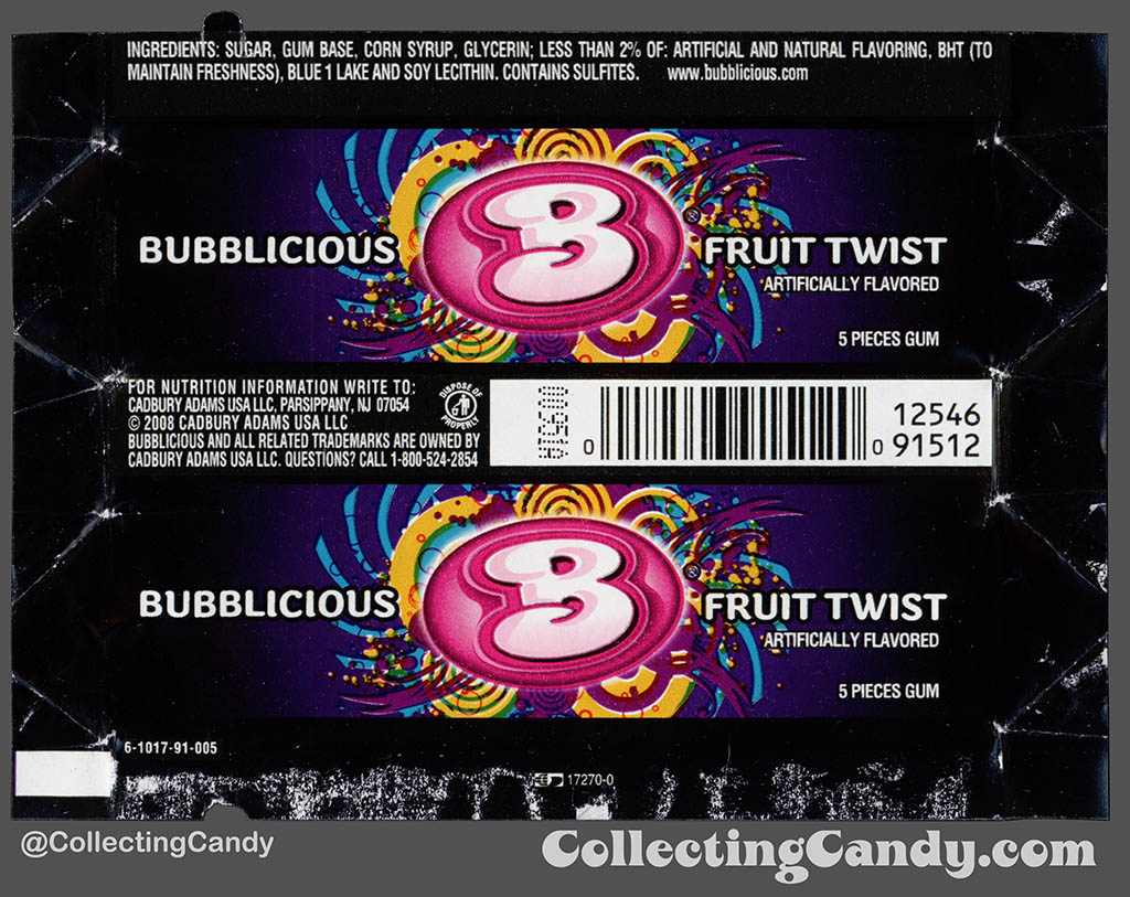 Cadbury-Adams - Bubblicious Fruit Twist - 5-piece pack bubblegum wrapper - 2012