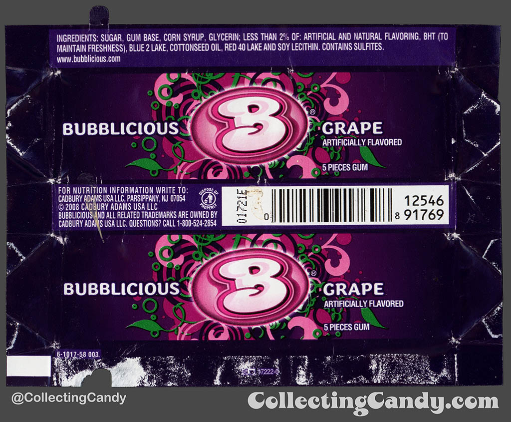 Cadbury-Adams - Bubblicious Grape - 5-piece pack bubblegum wrapper - 2012