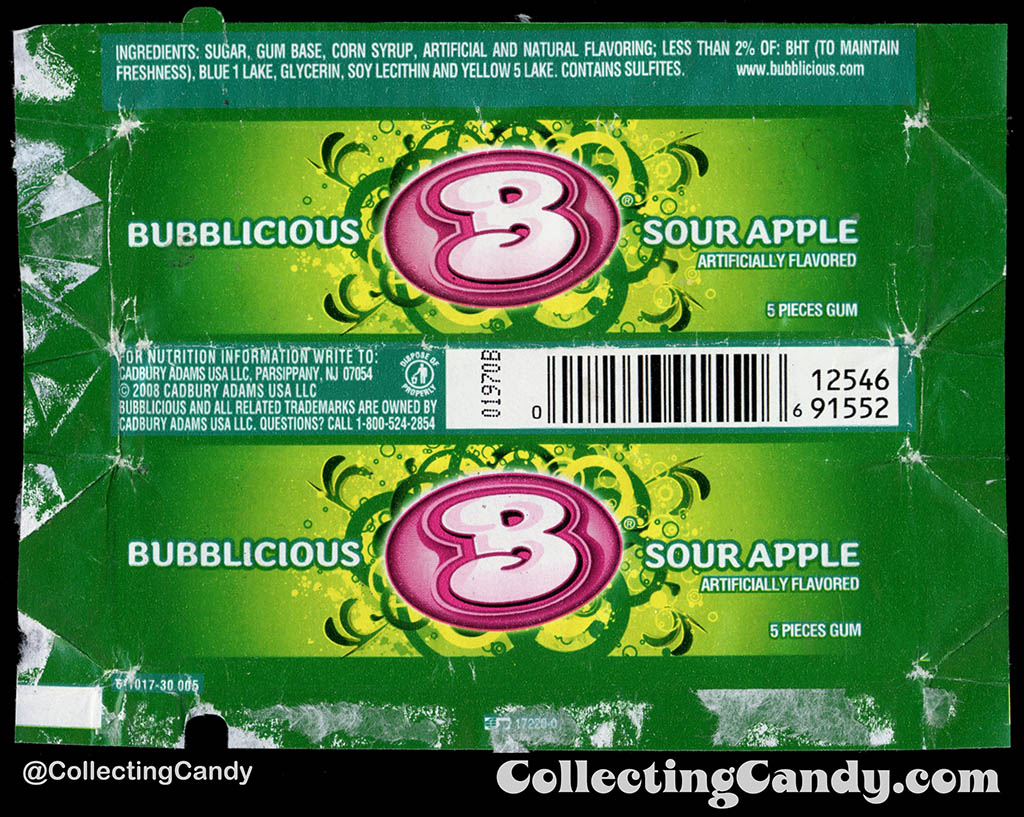 Cadbury-Adams - Bubblicious Sour Apple - 5-piece pack bubblegum wrapper - 2012