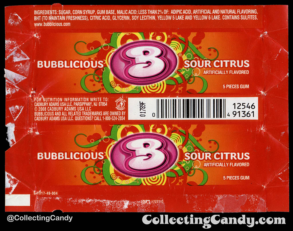 Cadbury-Adams - Bubblicious Sour Citrus - 5-piece pack bubblegum wrapper - 2012