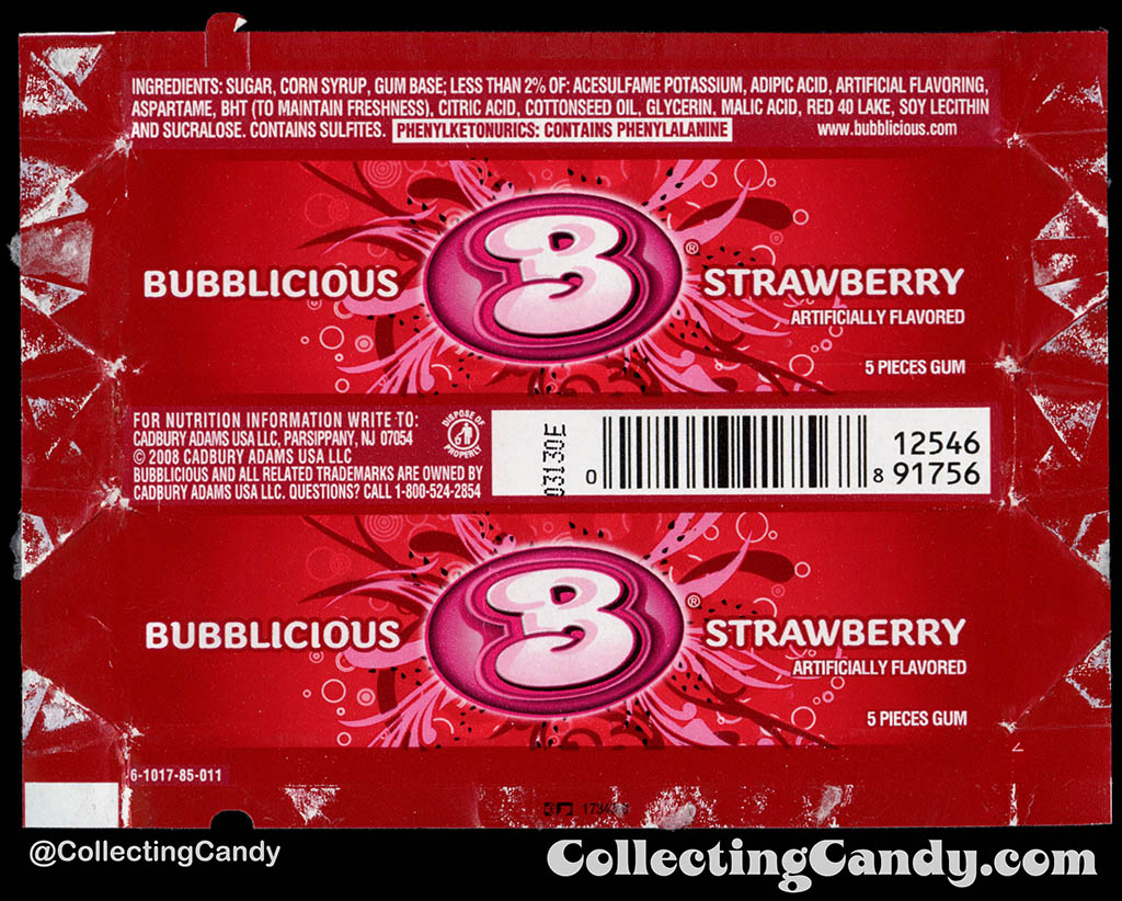 Cadbury-Adams - Bubblicious Strawberry - 5-piece pack bubblegum wrapper - 2012