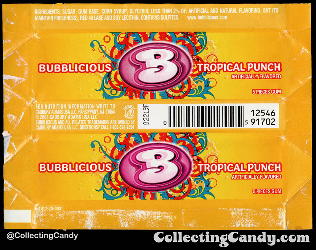 Cadbury-Adams - Bubblicious Tropical Punch - 5-piece pack bubblegum wrapper - 2012