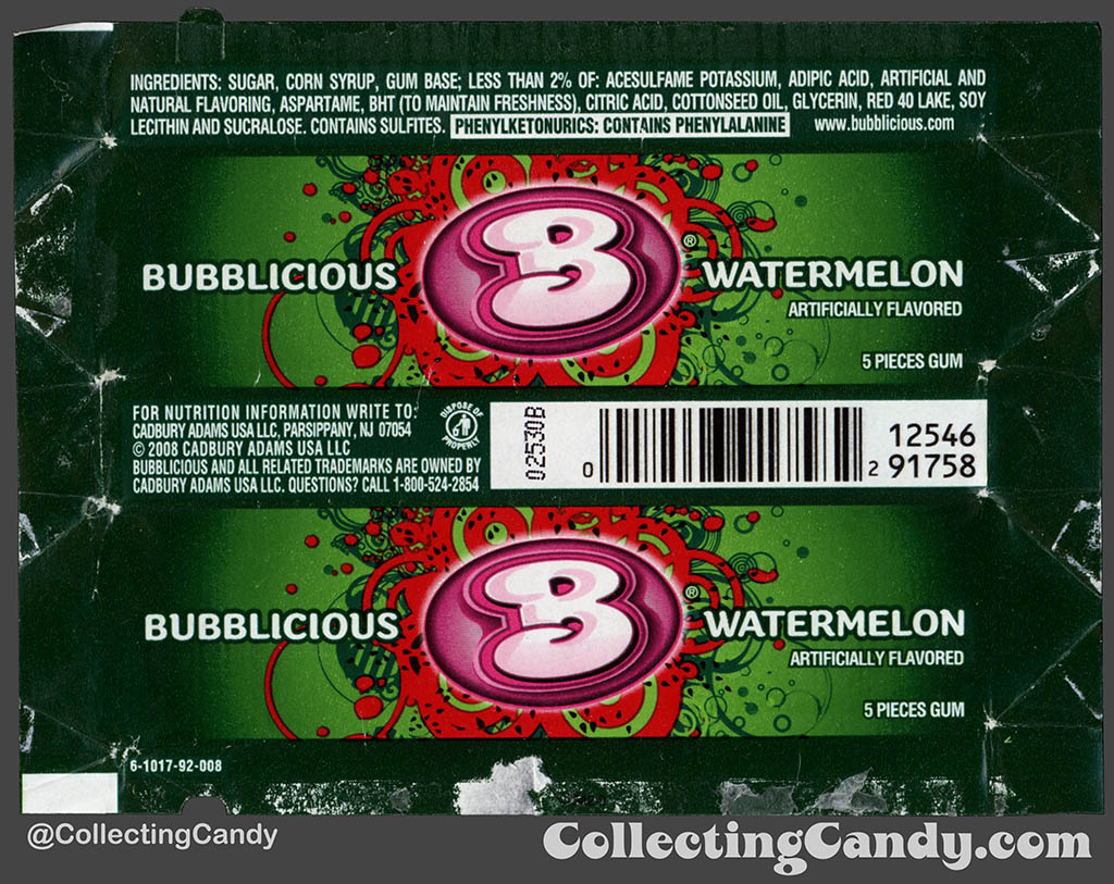 Cadbury-Adams - Bubblicious Watermelon - 5-piece pack bubblegum wrapper - 2012