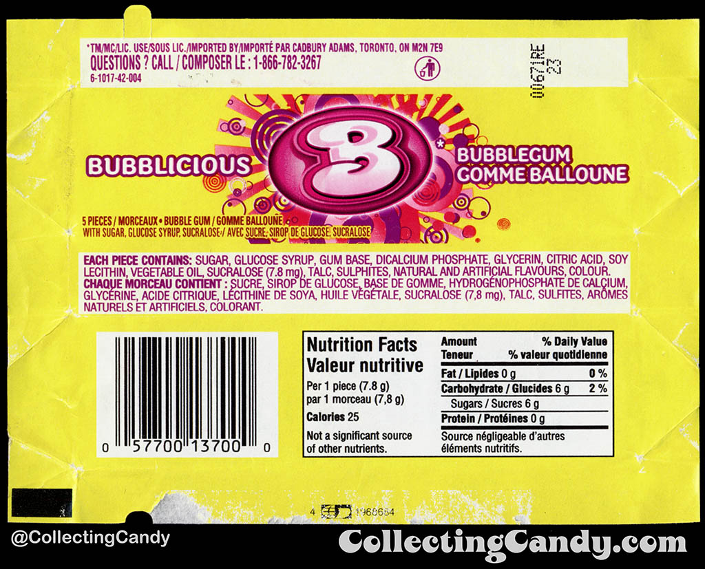 Canada - Cadbury-Adams - Bubblicious Bubblegum Gomme Balloune - 5-piece pack bubblegum wrapper - 2012