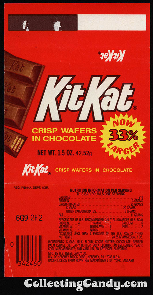 Hershey - Kit Kat - Now 33% Larger - 1.5 oz chocolate candy wrapper - 1982