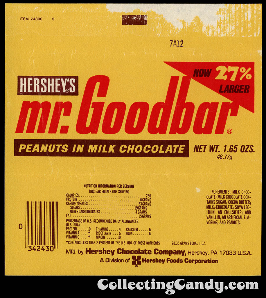 Hershey - Mr Goodbar - Now 27% Larger - 1.65 oz chocolate candy bar wrapper - 1982