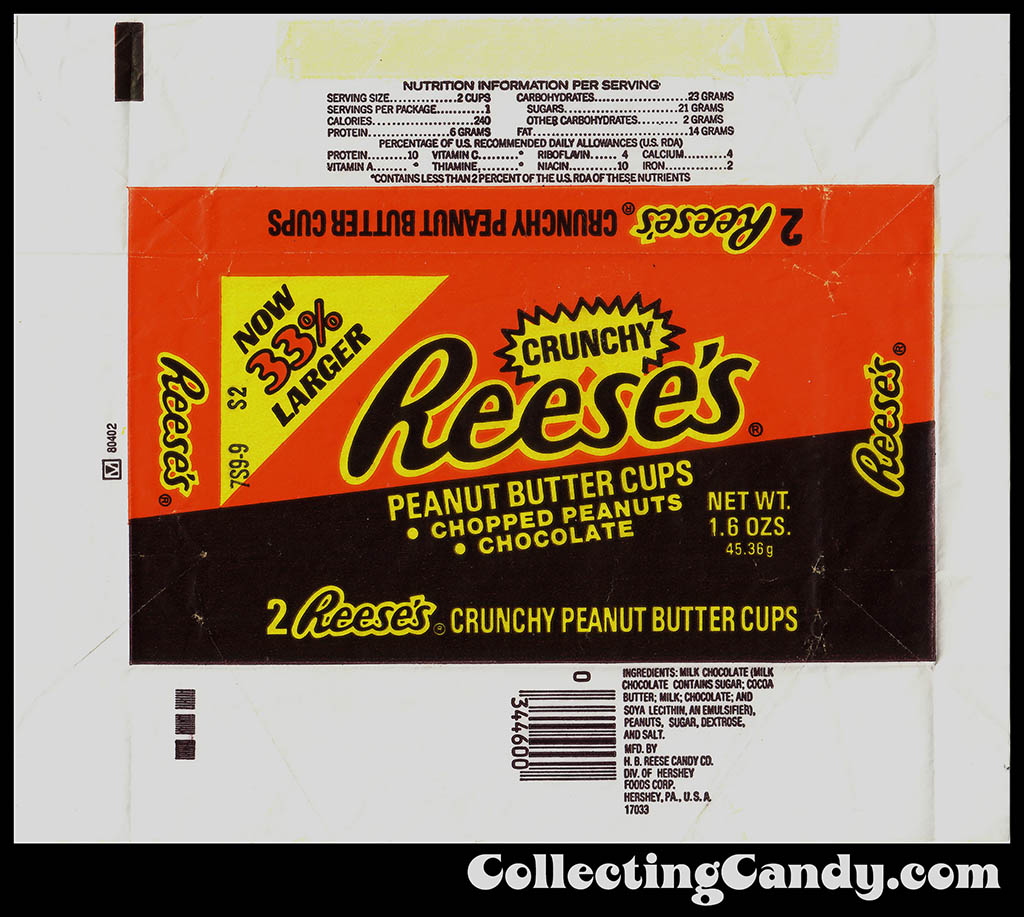 Hershey - Reese's Crunchy Peanut Butter Cups - Now 33% Percent Larger - 1.6 oz candy wrapper - 1982