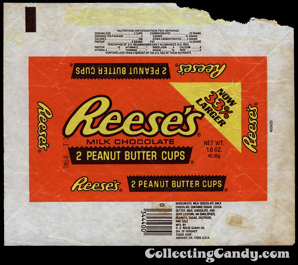 Hershey - Reese's Peanut Butter Cups - Now 33% Larger - 1.6 oz candy wrapper - 1982
