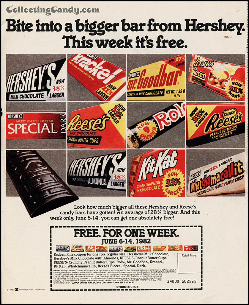 Hershey's - Bite into bigger a Bigger Bar - advertising circular coupon - June 1982