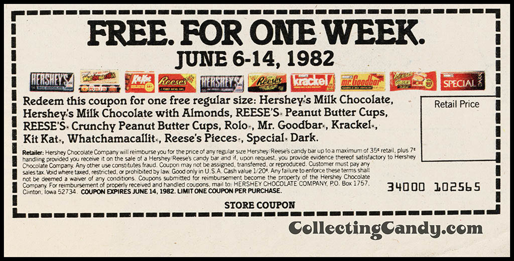 Hershey's - Bite into bigger a Bigger Bar - coupon - June 1982