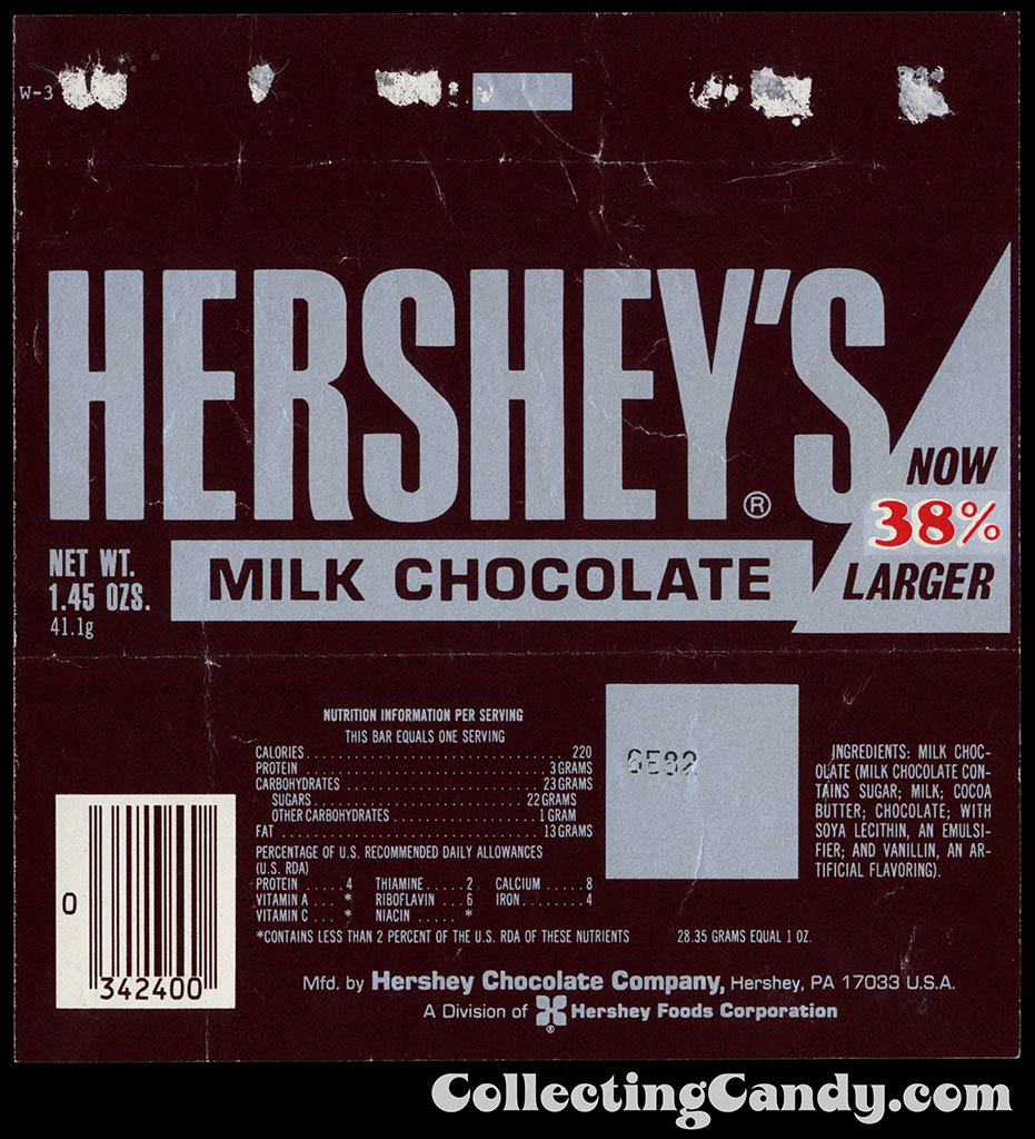 Hershey's Milk Chocolate - Now 38% Larger - 1.45 oz chocolate candy bar wrapper - 1982