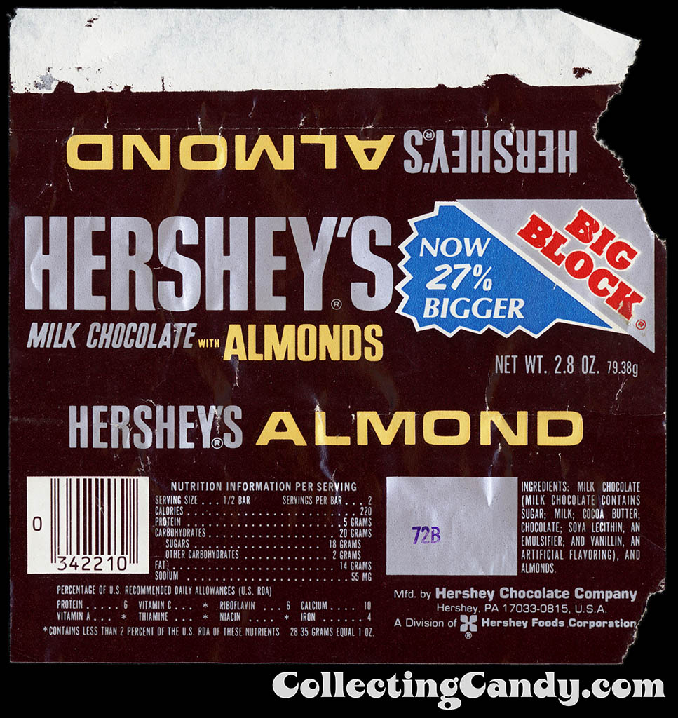 Hershey's Milk Chocolate with Almonds Big Block - Now 27 Bigger - chocolate candy bar wrapper - 1980's