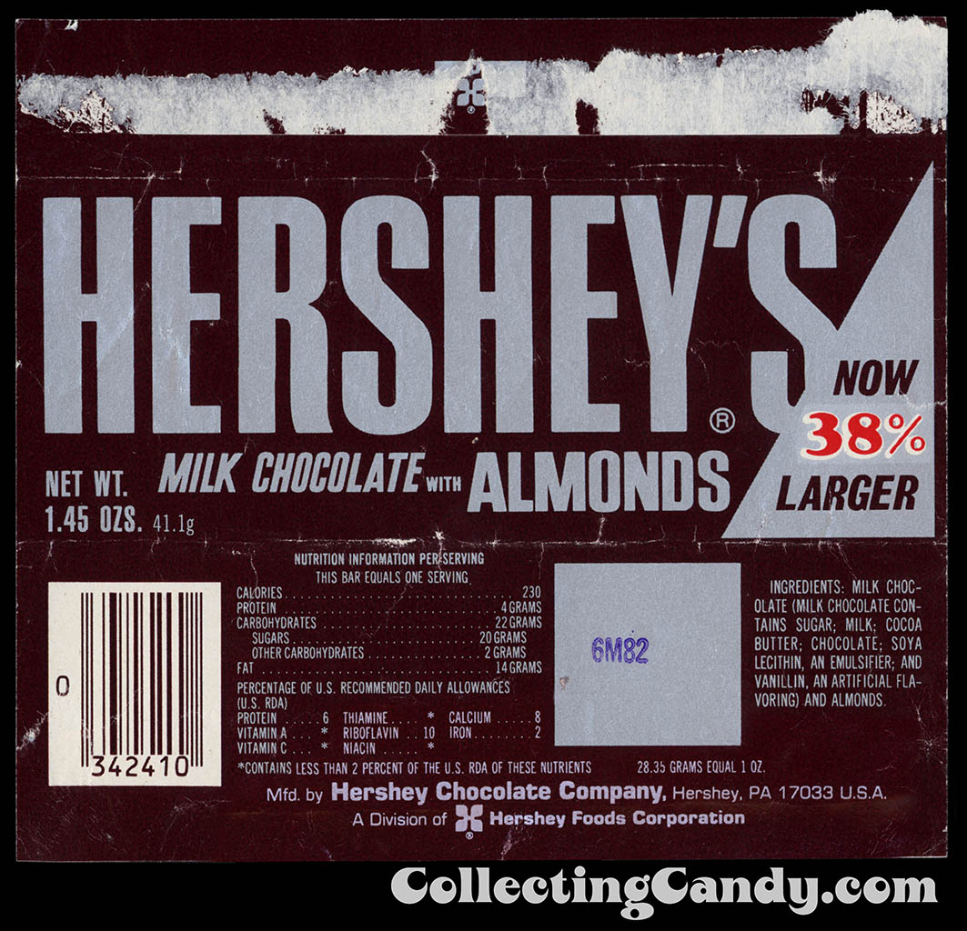 Hershey's Milk Chocolate with Almonds - Now 38% Larger - 1.45 oz chocolate candy bar wrapper - 1982