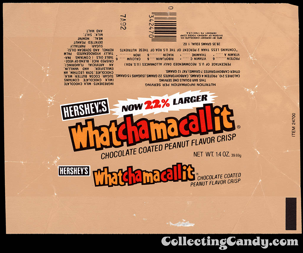 Hershey's - Whatchamacallit - Now 22% Larger - 1.4 oz chocolate candy bar wrapper - 1982
