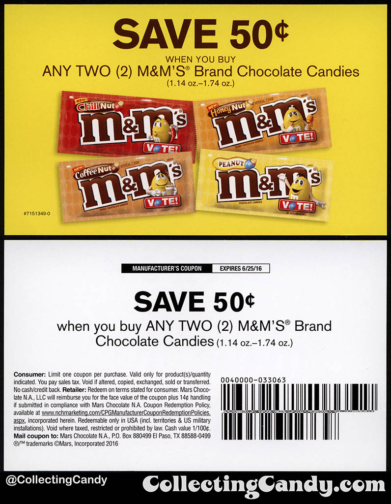 M&M's 2016 Peanut Flavor Vote 50-cent coupon