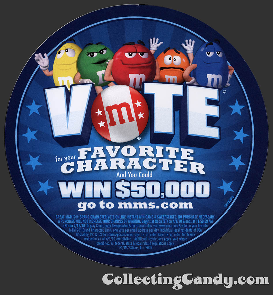 M&M's Vote for your Favorite Character promo sticker - 2010