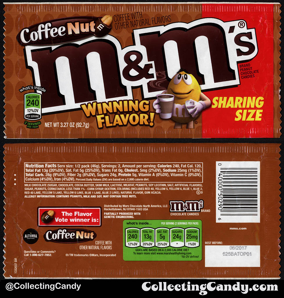 Mars - M&M's - Coffee Nut - Winning Flavor - Sharing Size - 3.27 oz candy package - Fall 2016