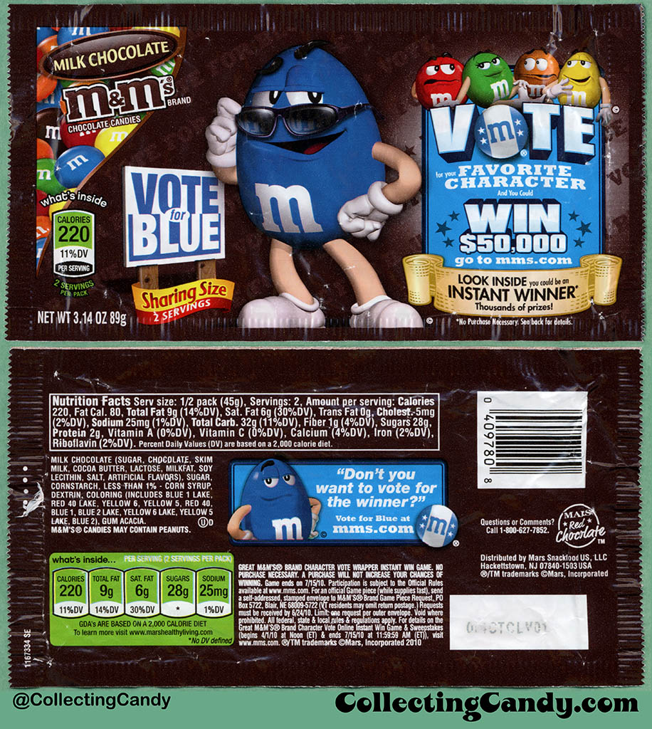 Mars - M&M's Milk Chocolate Sharing Size - Favorite Character Vote - Blue - 3.14 oz candy package wrapper - 2010