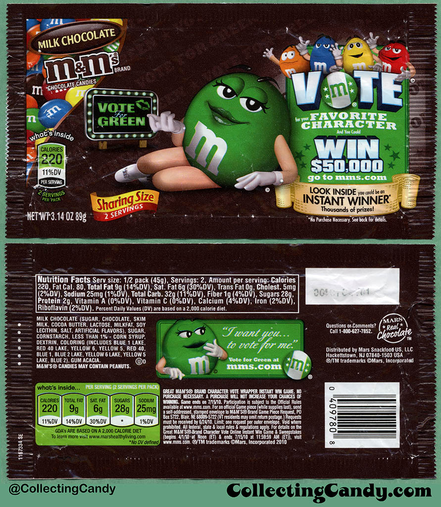 Mars - M&M's Milk Chocolate Sharing Size - Favorite Character Vote - Green - 3.14 oz candy package wrapper - 2010