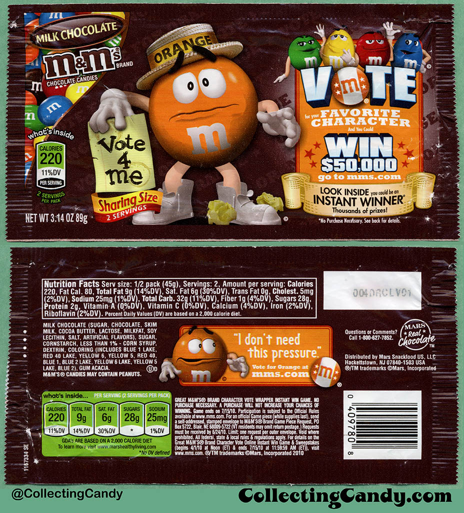 Mars - M&M's Milk Chocolate Sharing Size - Favorite Character Vote - Orange - 3.14 oz candy package wrapper - 2010
