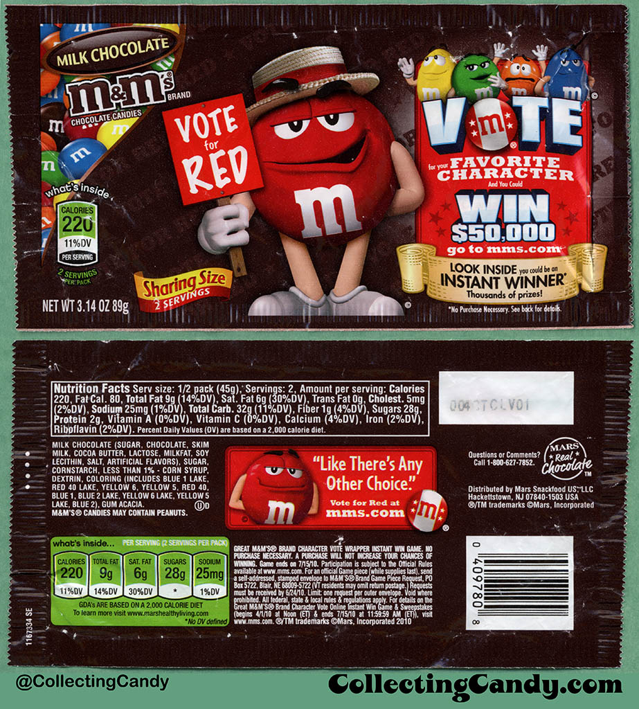 Mars - M&M's Milk Chocolate Sharing Size - Favorite Character Vote - Red - 3.14 oz candy package wrapper - 2010