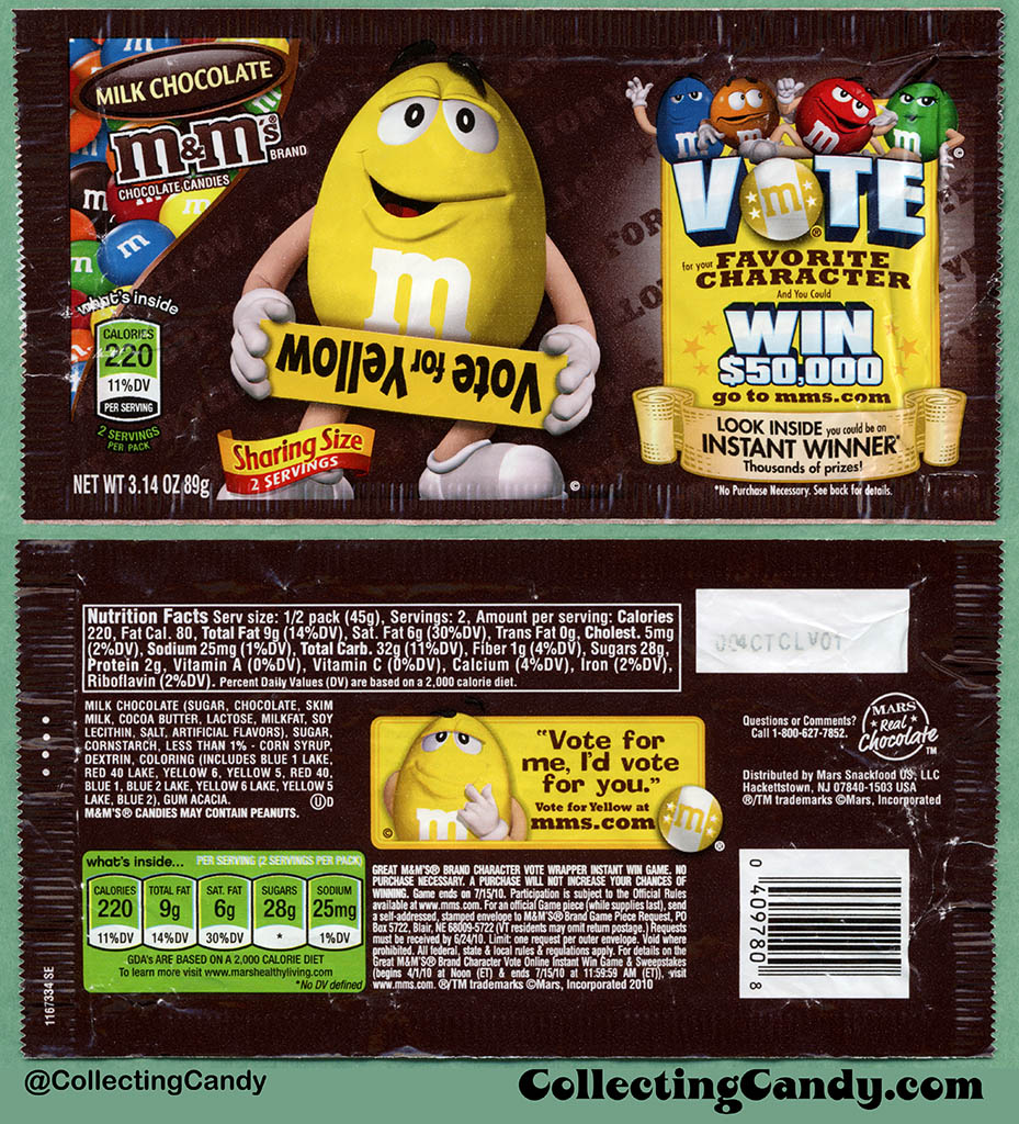 Mars - M&M's Milk Chocolate Sharing Size - Favorite Character Vote - Yellow - 3.14 oz candy package wrapper - 2010