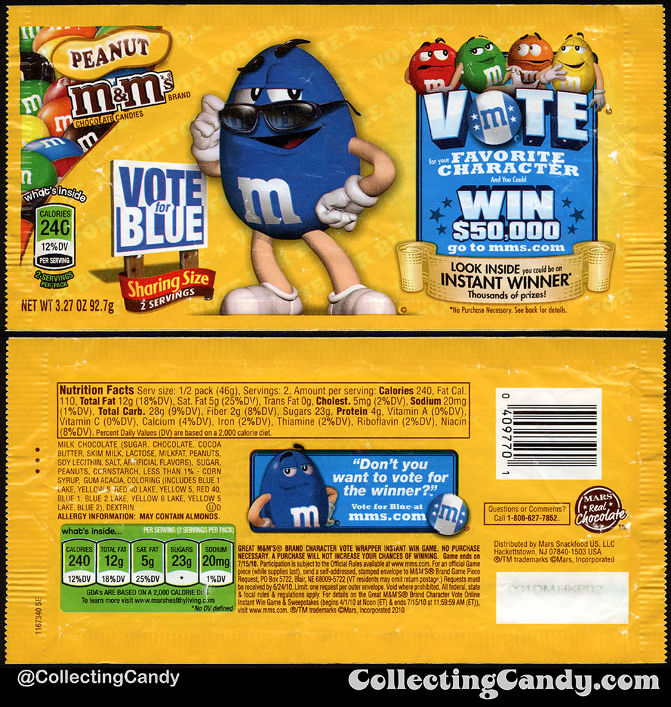 Mars - M&M's Peanut Sharing Size - Favorite Character Vote - Blue - 3.27 oz candy package wrapper - 2010