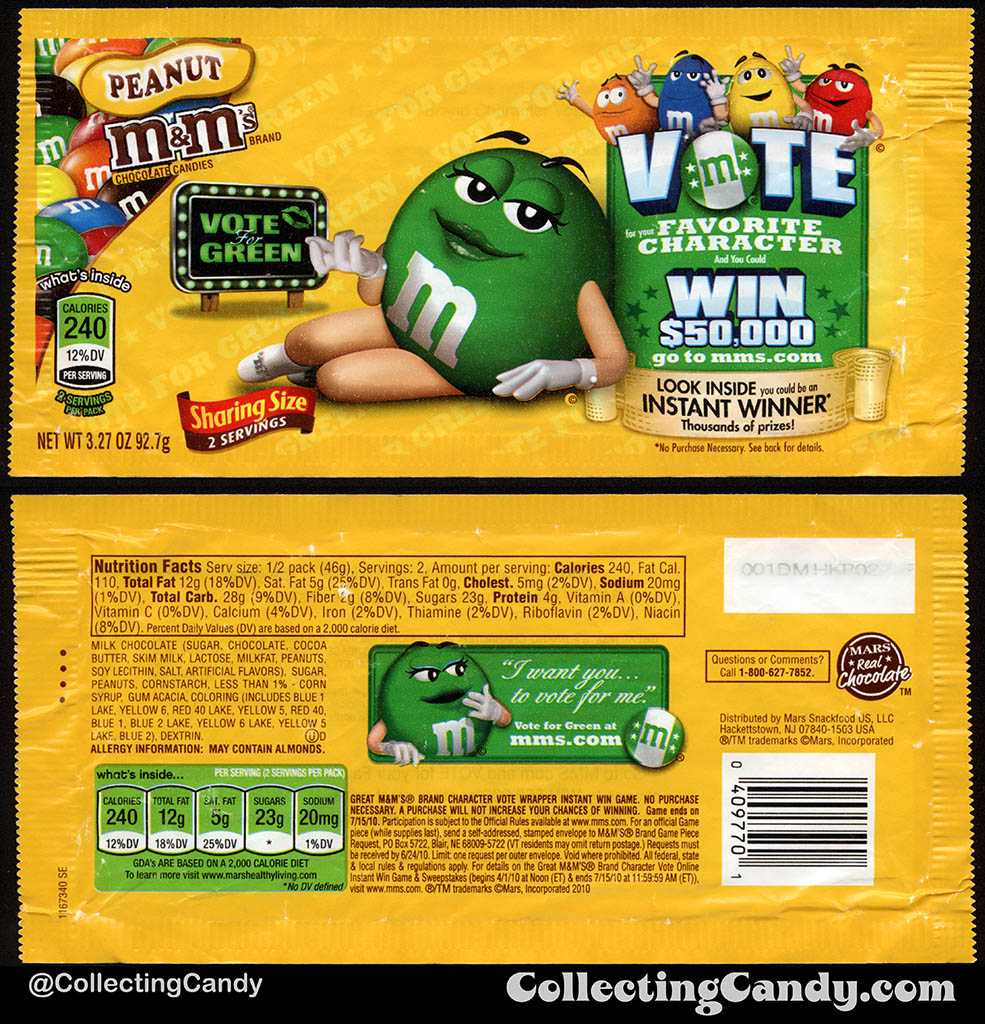 Mars - M&M's Peanut Sharing Size - Favorite Character Vote - Green - 3.27 oz candy package wrapper - 2010