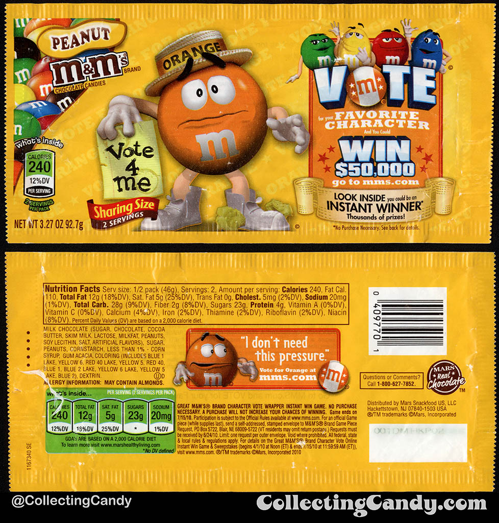 Mars - M&M's Peanut Sharing Size - Favorite Character Vote - Orange - 3.27 oz candy package wrapper - 2010