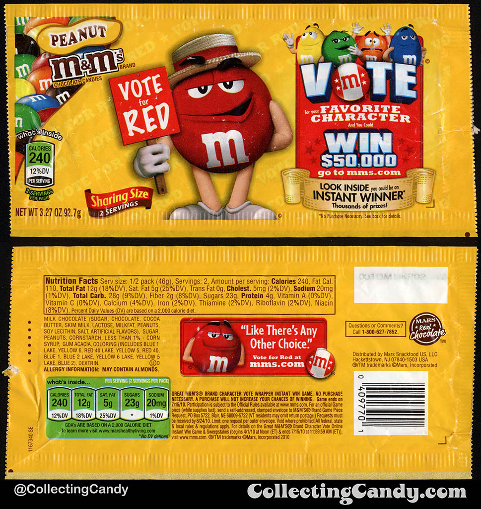 Mars - M&M's Peanut Sharing Size - Favorite Character Vote - Red - 3.27 oz candy package wrapper - 2010