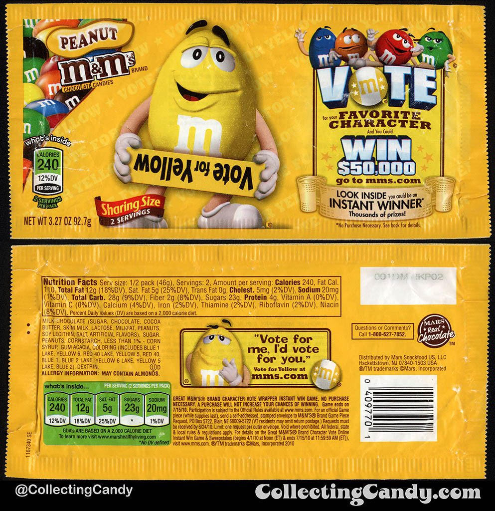 Mars - M&M's Peanut Sharing Size - Favorite Character Vote - Yellow - 3.27 oz candy package wrapper - 2010