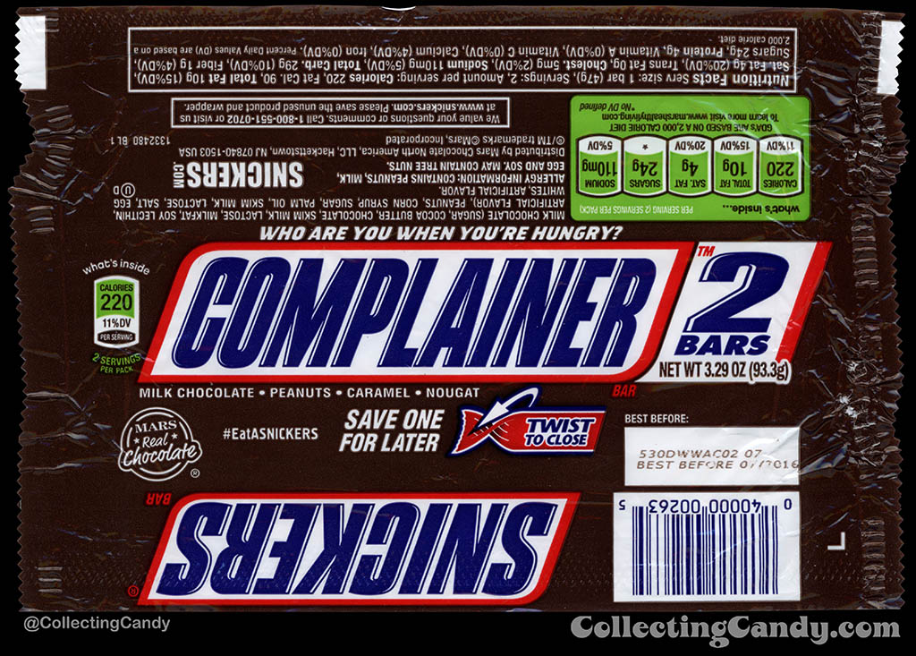 Mars - Snickers 2-Bars - EatASnickers trait bar - Complainer - 3.29 oz chocolate candy bar wrapper - 2015