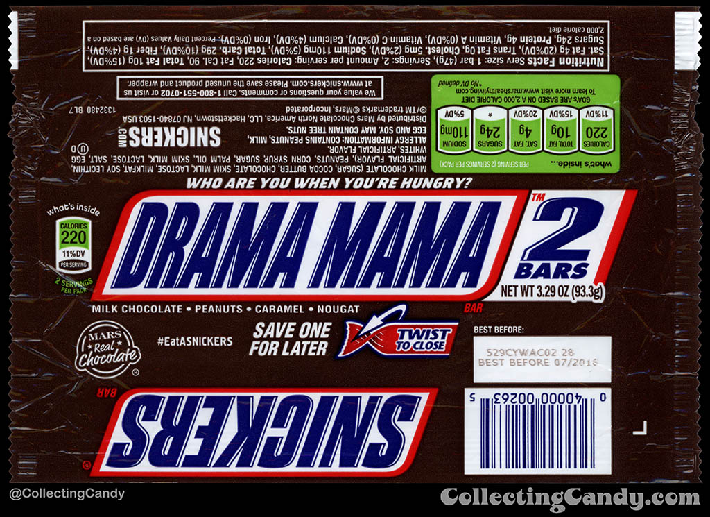 Mars - Snickers 2-Bars - EatASnickers trait bar - Drama Mama- 3.29 oz chocolate candy bar wrapper - 2015