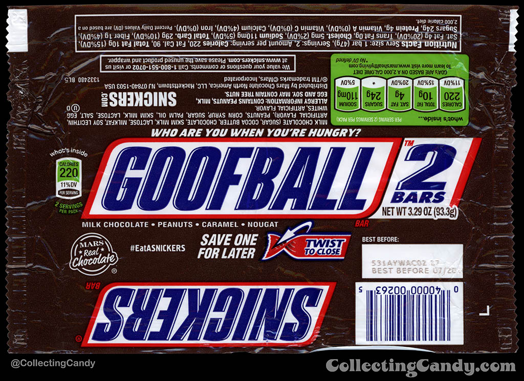 Mars - Snickers 2-Bars - EatASnickers trait bar - Goofball - 3.29 oz chocolate candy bar wrapper - 2015