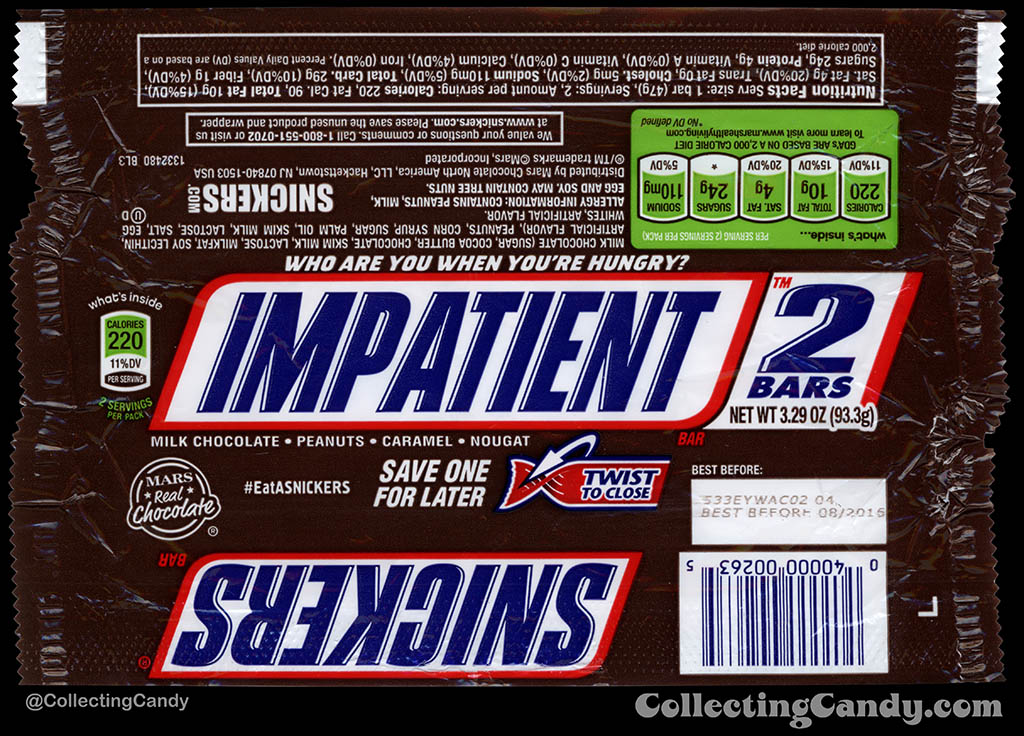 Mars - Snickers 2-Bars - EatASnickers trait bar - Impatient - 3.29 oz chocolate candy bar wrapper - 2015
