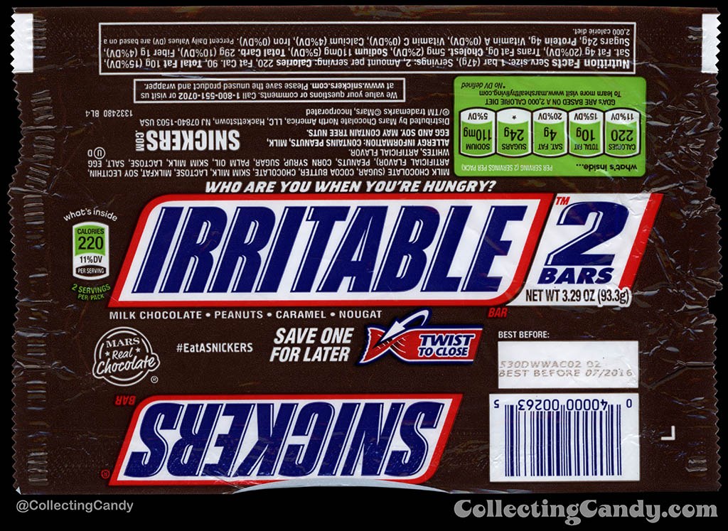 Mars - Snickers 2-Bars - EatASnickers trait bar - Irritable - 3.29 oz chocolate candy bar wrapper - 2015