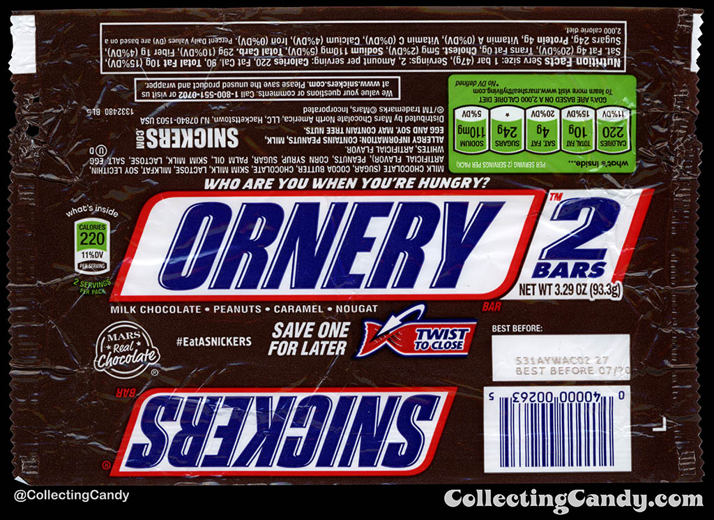 Mars - Snickers 2-Bars - EatASnickers trait bar - Ornery - 3.29 oz chocolate candy bar wrapper - 2015
