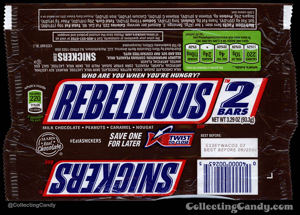 Mars - Snickers 2-Bars - EatASnickers trait bar - Rebellious - 3.29 oz chocolate candy bar wrapper - 2015