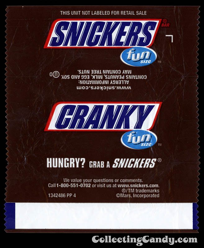 Mars - Snickers - EatASnickers Fun Size trait bar - Cranky - Fun Size chocolate candy bar wrapper - January 2016