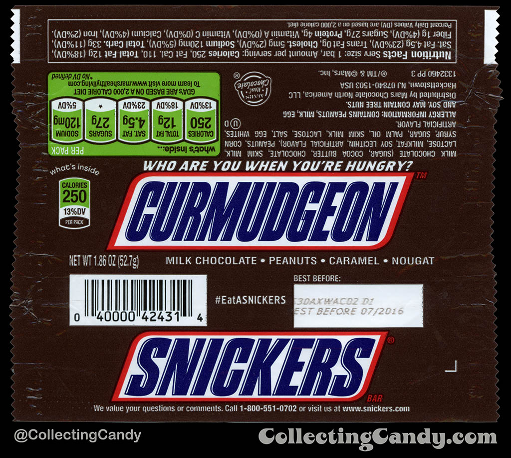 Mars - Snickers - EatASnickers trait bar - Curmudgeon - 1.86 oz chocolate candy bar wrapper - 2015