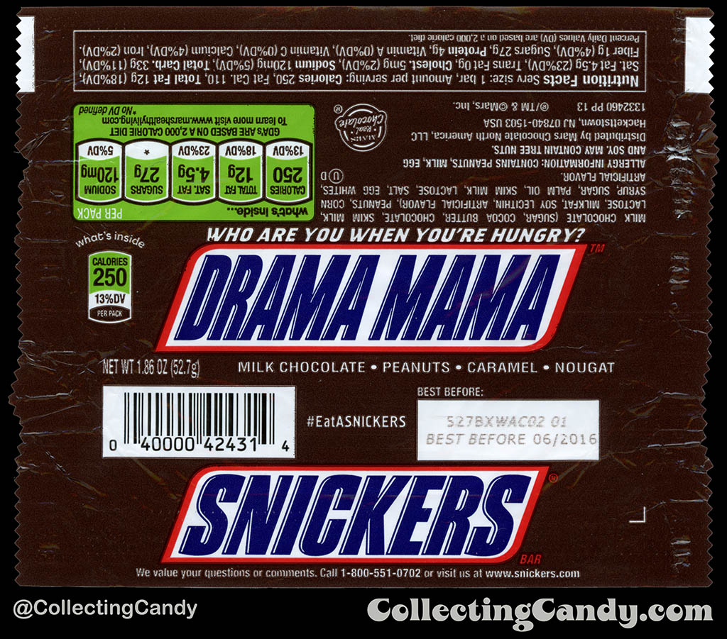 Mars - Snickers - EatASnickers trait bar - Drama Mama - 1.86 oz chocolate candy bar wrapper - 2015