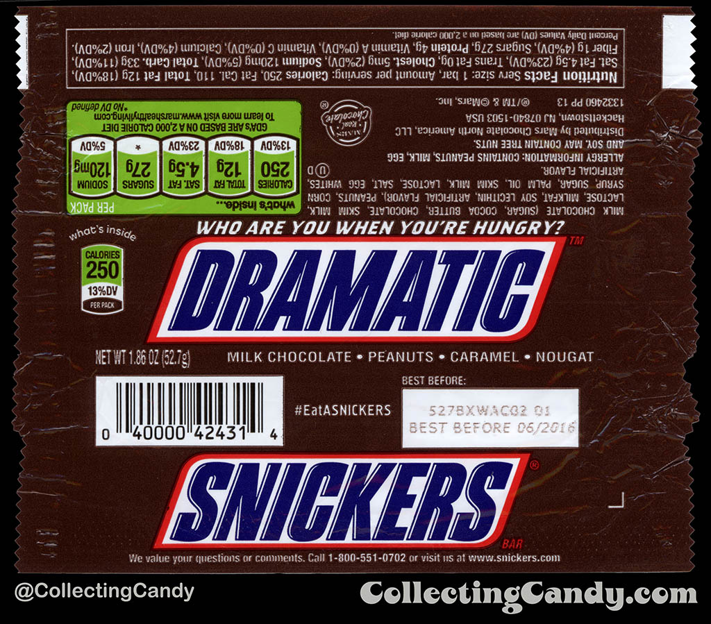 Mars - Snickers - EatASnickers trait bar - Dramatic - 1.86 oz chocolate candy bar wrapper - 2015