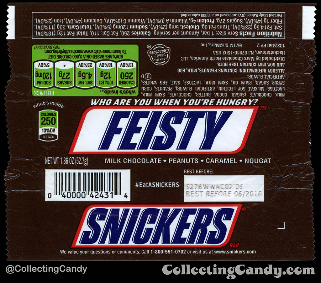 Mars - Snickers - EatASnickers trait bar - Feisty - 1.86 oz chocolate candy bar wrapper - 2015