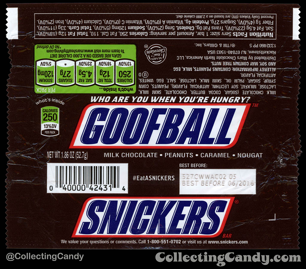 Mars - Snickers - EatASnickers trait bar - Goofball - 1.86 oz chocolate candy bar wrapper - 2015